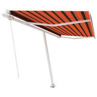 vidaXL Samostatne stojaca ručne zaťahovacia markíza 450x300 cm oranžovo-hnedá