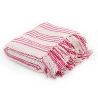 vidaXL Deka, bavlnená, prúžky 160x210 cm, ružová a biela