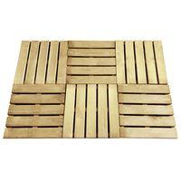 vidaXL Podlahové dlaždice 6 ks, 50x50 cm, drevo, zelené