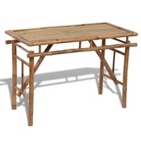 vidaXL Skladací záhradný stôl 120x50x77 cm, bambus