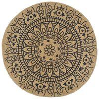 vidaXL Ručne vyrobený jutový koberec s tmavomodrou potlačou 120 cm