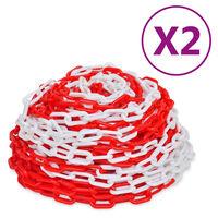 vidaXL Výstražné reťaze 2 ks červeno-biele plastové 30 m
