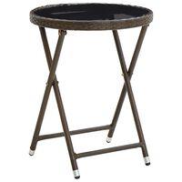 vidaXL Čajový stolík hnedý 60 cm polyratan a tvrdené sklo