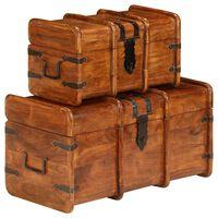 vidaXL Sada 2 úložných truhlíc, akáciové drevo a sheeshamový povrch