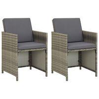 vidaXL Záhradné stoličky 2 ks s podložkami polyratan sivé