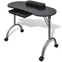 Skladací čierny stolík na manikúru s kolieskami