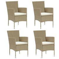 vidaXL Záhradné jedálenské stoličky 4 ks polyratanové béžové