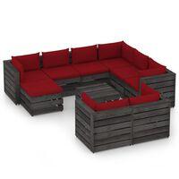 vidaXL 10-dielna záhradná súprava s podložkami sivé impregnované drevo