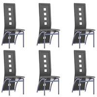 vidaXL Jedálenské stoličky 6 ks sivé umelá koža