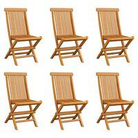 vidaXL Skladacie záhradné stoličky 6 ks teakový masív