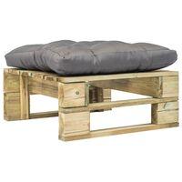 vidaXL Záhradná taburetka z paliet, sivá podložka, zelená, drevo