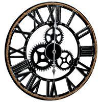 vidaXL Nástenné hodiny, čierne 60 cm, MDF