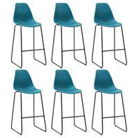 vidaXL Barové stoličky 6 ks, tyrkysové, plast