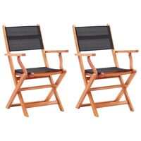 vidaXL Skladacie záhradné stoličky 2 ks, čierne, eukalyptus a textilén