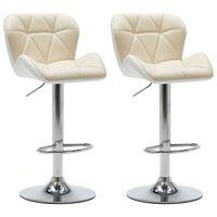 vidaXL Barové stoličky 2 ks krémové umelá koža