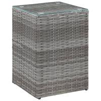 vidaXL Bočný stolík so sklenenou doskou sivý 35x35x52 cm polyratanový