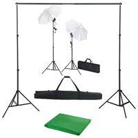 vidaXL Sada do fotoštúdia s pozadím, svetlami a dáždnikmi