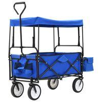 vidaXL Skladací ručný vozík so strieškou oceľ modrý