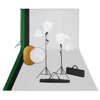 vidaXL Fotografické vybavenie s lampami, pozadím a reflektorom