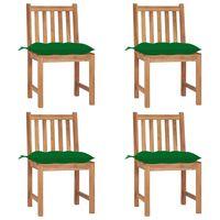 vidaXL Záhradné stoličky 4 ks s podložkami tíkový masív