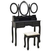 vidaXL Toaletný stolík so stoličkou a 3-dielnym zrkadlom čierny