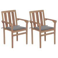 vidaXL Záhradné stoličky 2 ks sivé podložky teakový masív