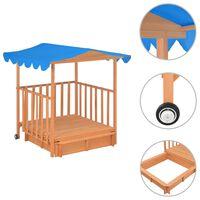 vidaXL Detský domček s pieskoviskom, jedľové drevo, modrý UV50
