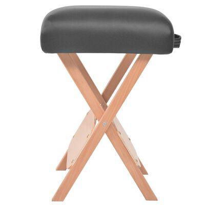 vidaXL Sklápací 2-dielny masérsky stôl a stolička 10 cm hrubý čierny