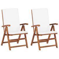 vidaXL Sklápacie záhradné stoličky+podložky 2 ks tíkový masív, krémové