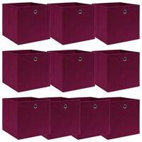 vidaXL Úložné boxy 10 ks tmavočervené 32x32x32 cm látkové