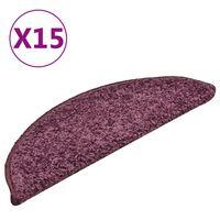 vidaXL Kobercové nášľapy na schody 15 ks tmavofialové 56x17x3 cm