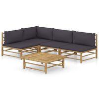 vidaXL 5-dielna záhradná sedacia súprava, tmavosivé podložky, bambus