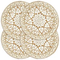 vidaXL Prestierania 4 ks biele 38 cm jutové okrúhle