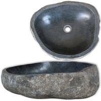 vidaXL Umývadlo, riečny kameň, oválne 30-37 cm