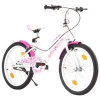 vidaXL Detský bicykel ružovo-biely 20 palcový
