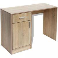 vidaXL Dubový stôl so zásuvkou a skrinkou, 100 x 40 x 73 cm