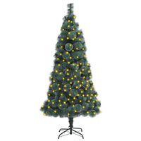 vidaXL Umelý vianočný stromček s LED zelený 150 cm PVC a PE