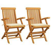 vidaXL Záhradné stoličky, krémové podložky 2 ks, tíkový masív