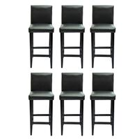 vidaXL Barové stoličky 6 ks, čierne, umelá koža