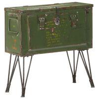 vidaXL Úložná truhlica vo vojenskom štýle 68x24x66 cm železo