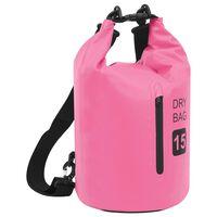 vidaXL Suchá taška so zipsom ružová 15 l PVC