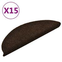vidaXL Samolepiace nášľapy na schody 15 ks hnedé 56x17x3 cm vpichovaná textília