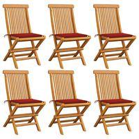 vidaXL Záhradné stoličky, červené podložky 6 ks, tíkový masív