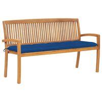 vidaXL Stohovateľná záhradná lavička s podložkou 159 cm tíkový masív
