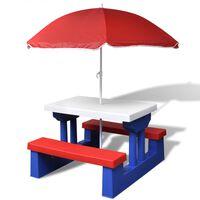 vidaXL Detský piknikový stôl s lavičkami a slnečníkom, rôznofarebný