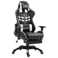 vidaXL Herná stolička s opierkou na nohy, biela, umelá koža