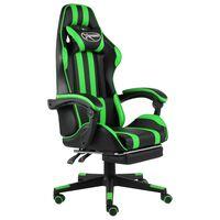 vidaXL Herná stolička s opierkou na nohy čierna a zelená umelá koža