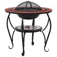vidaXL Mozaikový prenosný stôl s ohniskom terakotovo-biely 68 cm keramický