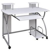 Mobilný PC stôl s výsuvom pre klávesnicu biely