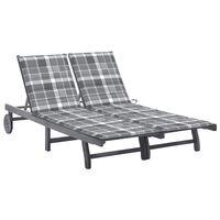 vidaXL 2-miestne záhradné ležadlo s podložkou sivé akáciový masív